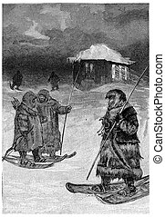 The packets were fur walking, vintage engraving. - The ...