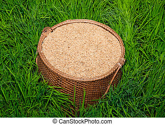 The Paddy on bamboo basket in green rice field