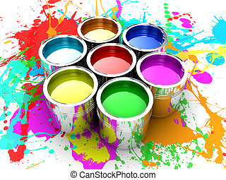 The paint - Banks with a paint of different colours are...