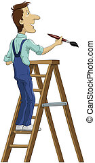 The house painter on a stepladder