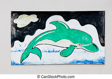 The Painting of dolphin on wall