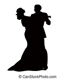 The Pair in dance. - On white background, the pair executes...