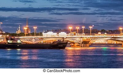 The Palace Bridge (Dvortsoviy Most). White Nights. Saint...