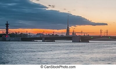 The Palace Bridge (Dvortsoviy Most). White Nights. Saint Petersburg, Russia.