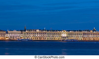 The Palace embankment and the Winter Palace timelapse June night. St. Petersburg, Russia