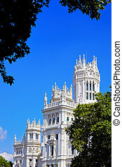 The palace in plaza Cibeles at Madrid, Spain - architecture...