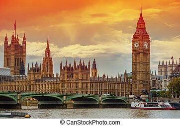 The Palace of Westminster at the Big Ben at Sunset. London,...