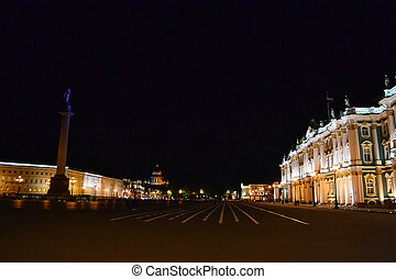 The Palace Square in St.Petersburg at night