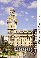 The Palacio Salvo at Montevideo, Uruguay - MONTEVIDEO -...