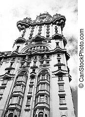 The Palacio Salvo, Montevideo, Uruguay. Monochrome photo