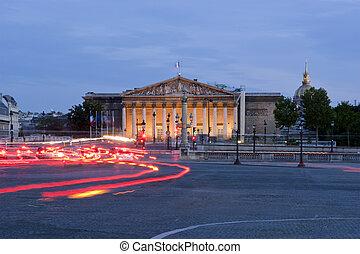 The Palais Bourbon at night, , Paris, France