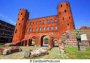 The Palatine Towers ancient roman gate, Turin, Italy - The ...