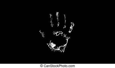 The palm print on a black background video animation - Hand...