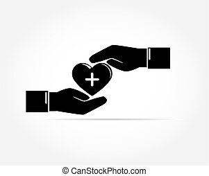 The palms of two outstretched hands carefully cover the silhouette of the heart