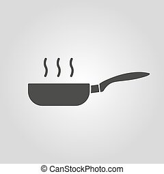 The pan icon. Barbecue and kitchen, cook symbol. Flat