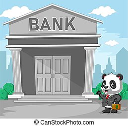 The panda with the grey suite holding a bag of money in front of the bank