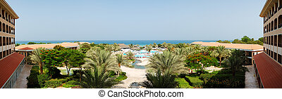 The panorama of beach at luxury hotel, Fujairah, UAE