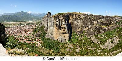 The panorama of Kalampaka town and Meteora, Greece