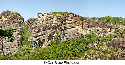 The panorama of Meteora with Holy Monastery of Varlaam on...