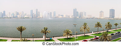 The panorama of Sharjah fountain and man-made lake, Sharjah, UAE