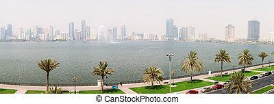 The panorama of Sharjah fountain and man-made lake, Sharjah, UAE