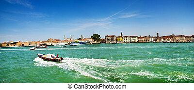 The panorama of Venetian Lagoon, Venice, Italy - The...