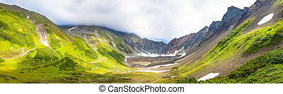 The panorama volcanic landscape on Kamchatka Peninsula