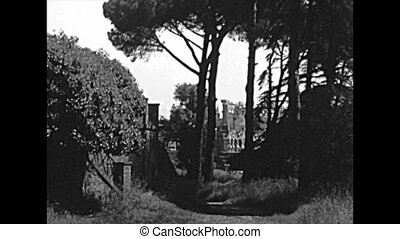 The panoramic aerial view of the Roman Forum in Rome city. BW historical archival of Rome capital of Italy in the 1960s.