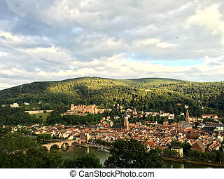 The panoramic view of Heidelberg view from Philosophenweg