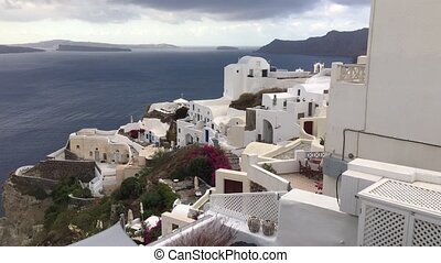 The panoramic view of Oia town, Santorini, Greece - 4k...