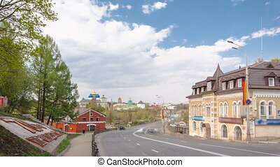 The panoramic view of the Sergiev Posad Monastery timelapse in Russia
