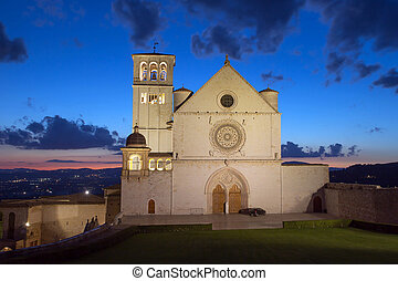 The Papal Basilica of St. Francis of Assisi at sunset (Assisi, U