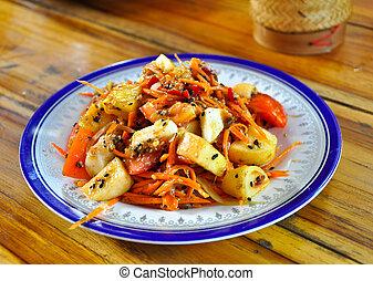The PaPaya Salad - PaPaya Salad is favorite for thai people