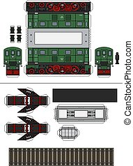 The paper model of a classic green electric locomotive