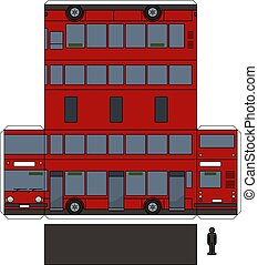 The paper model of a red double decker