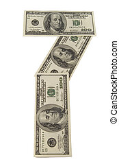 The paper money on white background. The numeral 7.