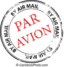 par avion grunge stamp vector