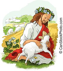 Jesus rescues the lost sheep. Also available outlined illustration