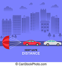 The parachute attached to the car, symbolizing about ...