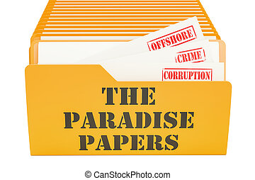 The Paradise Papers, leak concept. 3D rendering isolated on...