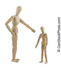 The parent mannequin scolding his child on white background