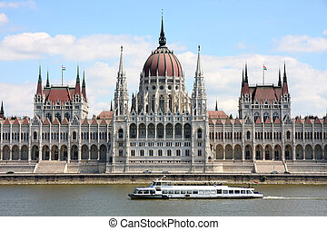 Budapest, Hungary - The parliament building with ship in...