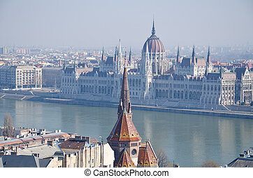 the Parliament (Hungary)  at Budapest
