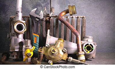 the part of gas boiler, water fittings and adjustable...