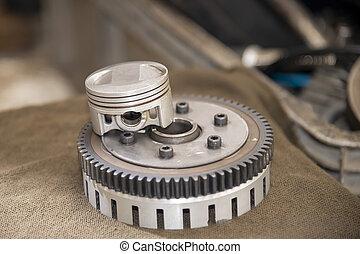 The  part of piston and flywheel  . - The  part of piston ...