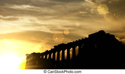"""The Parthenon, Greece over sunset, 3d animation."""