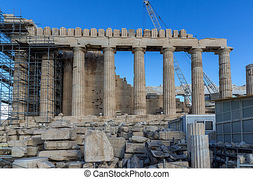 The Parthenon in the Acropolis of Athens, Greece - Ancient...