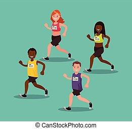 The participants of the international amateur marathon. Vector illustration.