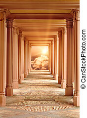 Spiritual fantasy scene with a passageway surrounded by pillars leading to Heaven
