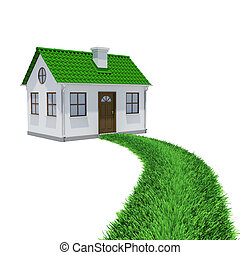 The path of grass leading to a small house